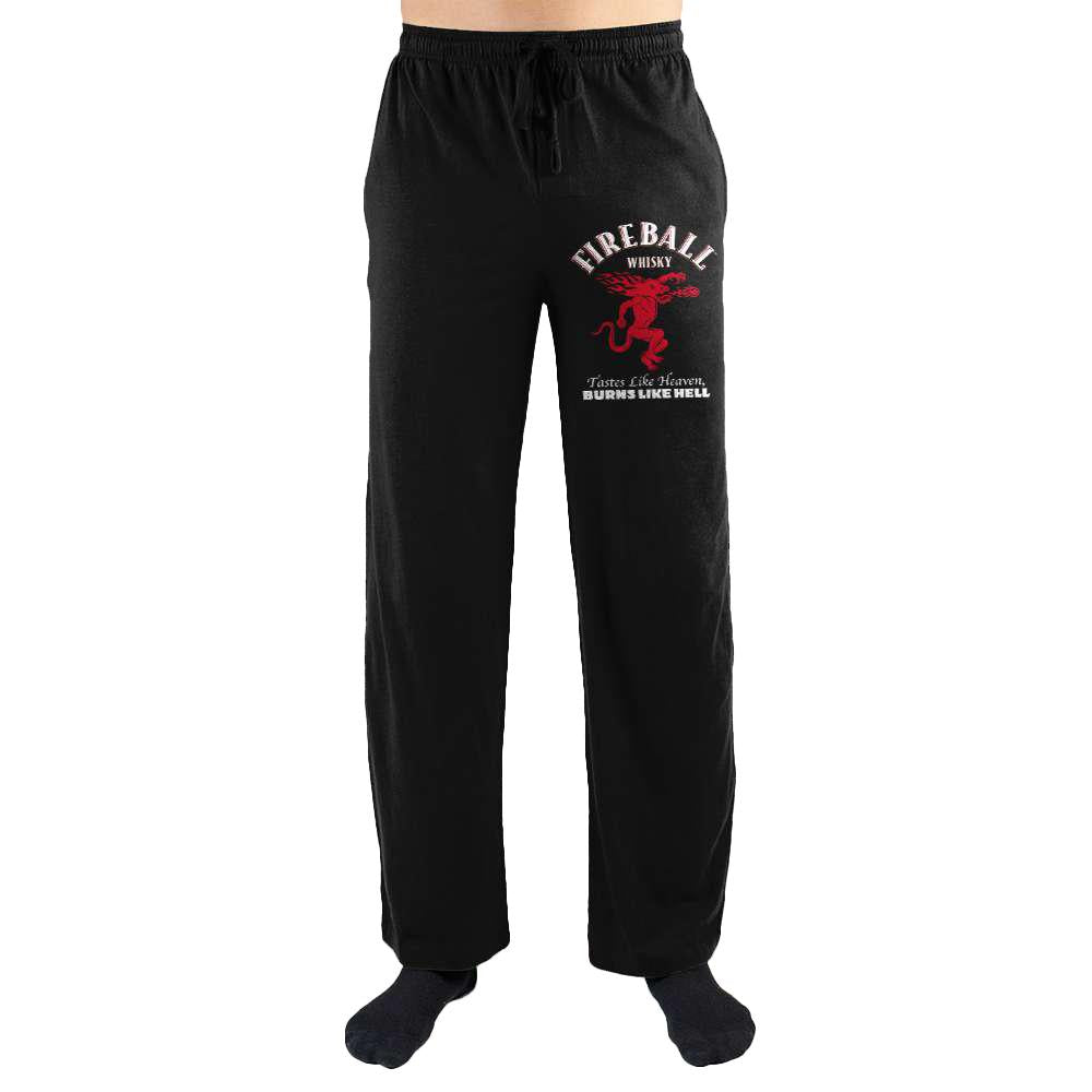 Fireball Whisky Dragon Logo Tastes Like Heaven Burns Like Hell Print Mens Loungewear Lounge Pants - Alluforu