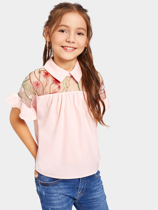 Girls Embroidery Mesh Insert Ruffle Sleeve Blouse - Alluforu