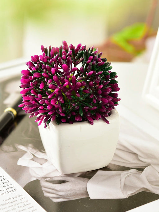 Artificial Plastic Flower In Ceramic Pot