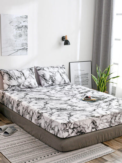 Marble Print Fitted Sheet 1PC - Alluforu