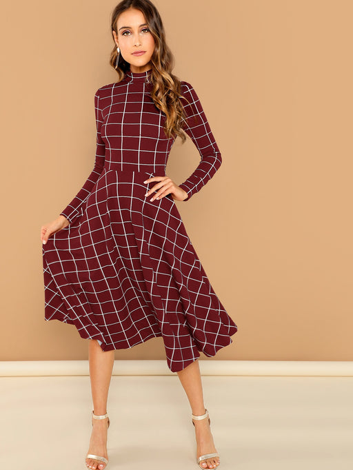 High Neck Fit & Flare Dress - Alluforu