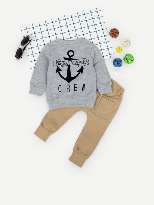 Toddler Boys Anchor & Letter Print Sweatshirt With Pants