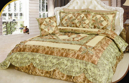 Geometric Star-Crossed Floral Sandy Beige Green Ruffles Comforter Set (BM6118L-1)
