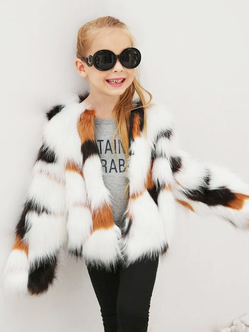 Toddler Girls Faux Fur Coat - Alluforu