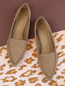 Vegan Suede Stitch Pointed Flats