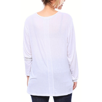 Expertly Cut V Neck Tee with Long Sleeves in White - Alluforu