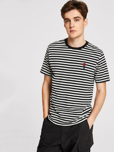 Men Rose Embroidered Striped Tee