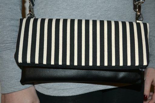 Joanne Cross Body Bag - Stripped Black & White with Black Vegan Leather - Alluforu