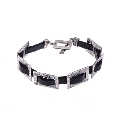 Hammered Silver Chain and Black Leather Bracelet Men