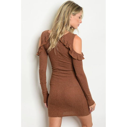 Women's Long Sleeve cold shoulder Dress with Ruffle - Alluforu