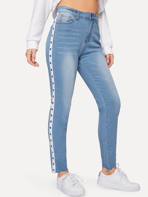 Braid Side Popper Detail Jeans