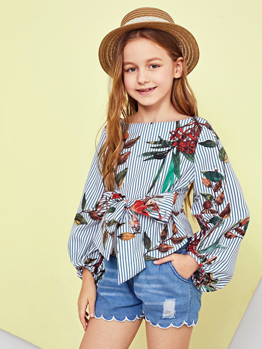 Girls Tie Waist Zip Back Floral Print Top