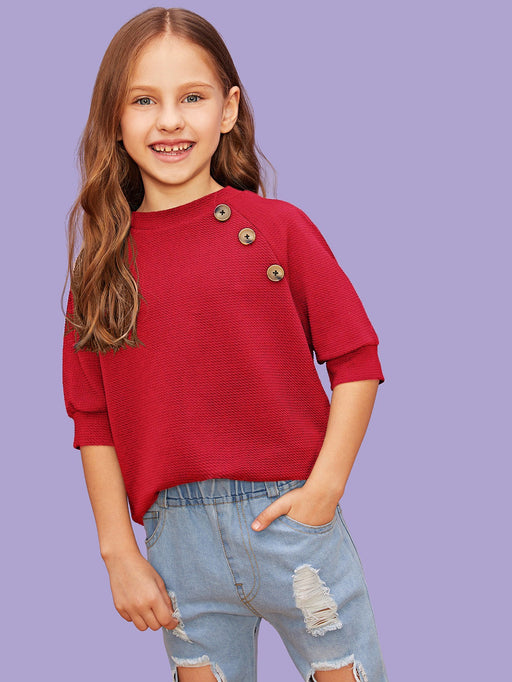 Girls Button Detail Textured Top - Alluforu