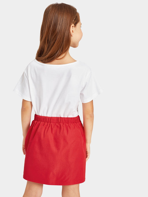 Girls Letter Print Tee & Buttoned Skirt Set - Alluforu