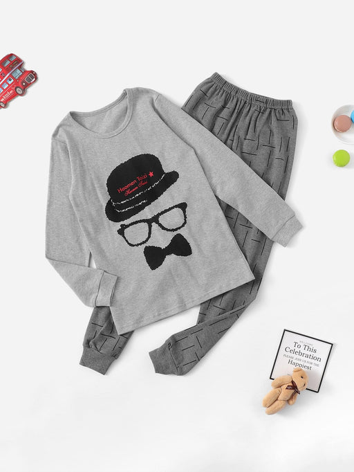 Boys Cartoon Print Pajama Set - Alluforu