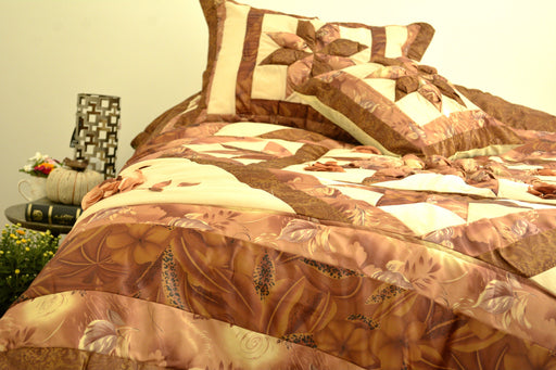Diamond of Night Brown Beige Floral Stars Ruffles Comforter Set (BM915L)