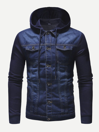 Men Cut And Sew Panel Hooded Denim Jacket