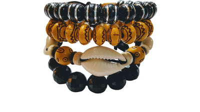 4 Pc Wooden Beaded Bracelets