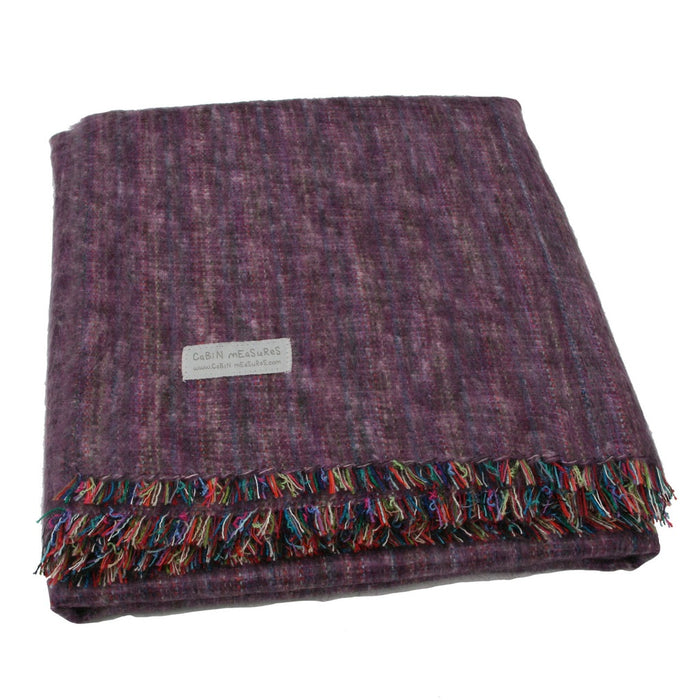 100% Alpaca Full Blanket in Heather Purple - Alluforu