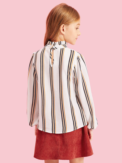 Girls Ruffle Detail Striped Top - Alluforu