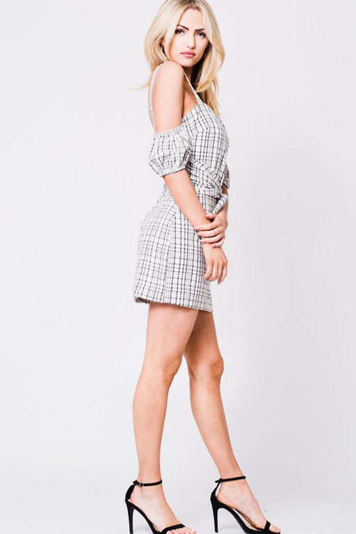 Drop Shoulder Plaid Print Dress - Alluforu