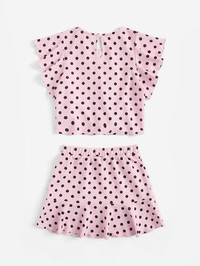 Girls Keyhole Back Polka Dot Flutter Sleeve Top & Skirt Set