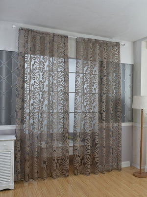 3D Floral Grommet Sheer Curtain 1pc