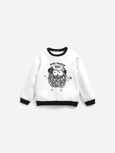Boys Contrast Trim Cartoon Print Sweatshirt