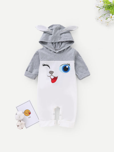Baby Cartoon Print Hooded Romper