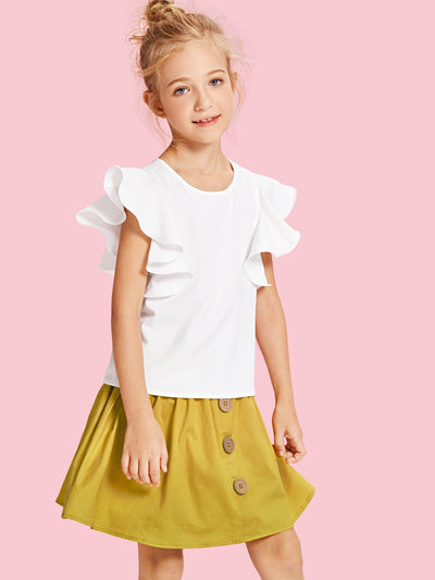 Girls Solid Ruffle Trim Blouse