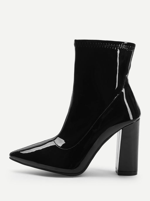Solid Point Toe Boots - Alluforu