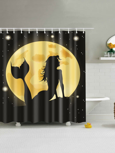 Mermaid Print Shower Curtain With 12pcs Hook