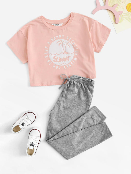Girls Letter & Beach Print Top & Marled Pants Set