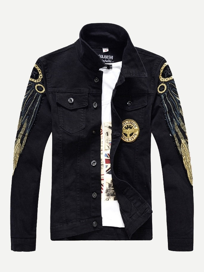 Men Contrast Sequin Denim Jacket