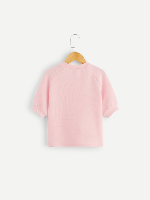 Girls Button Detail Raglan Sleeve Top