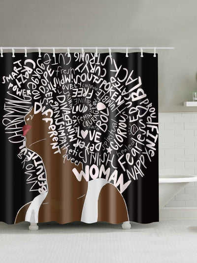 Slogan & Girl Print Shower Curtain With Hook 12pcs