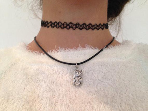 Lucky Cat Vegan Leather Choker - Alluforu