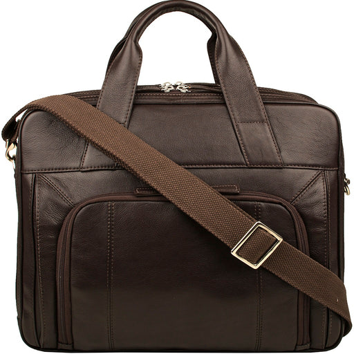 "Hidesign Aldous Ziptop 15"" Laptop Compatible Leather Work Bag - Alluforu"