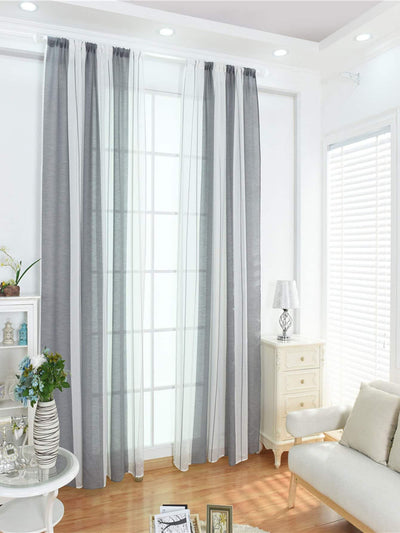 Two Tone Rod Pocket Sheer Curtain 1pc