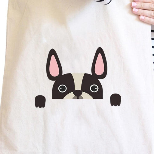French Bulldog Peek A Boo Natural Canvas Bag Gifts For Dog Owners - Alluforu
