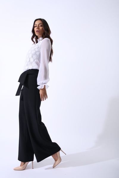 Swan Wide Leg Trousers With Tie Feature In Classic Black - Alluforu