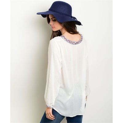Women's Top Long Sleeve Off White Embroidered Blouse - Alluforu
