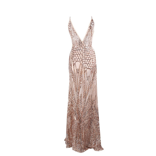 Gold Sequin Evening Gown - Alluforu