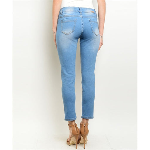 Women's Denim Jeans Light Wash Distressed Pants - Alluforu