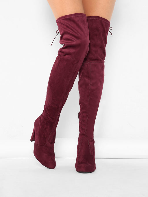 Vegan Suede High Heel Drawstring Thigh Boots