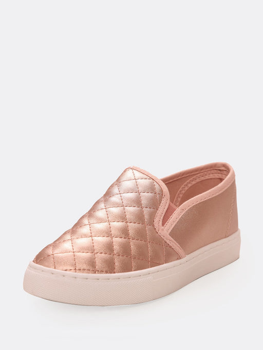 Toddlers Quilted Faux Leather Slip On Sneakers - Alluforu