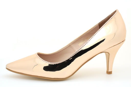 Metallic Pointed Toe Pumps (Rose Gold) - Alluforu