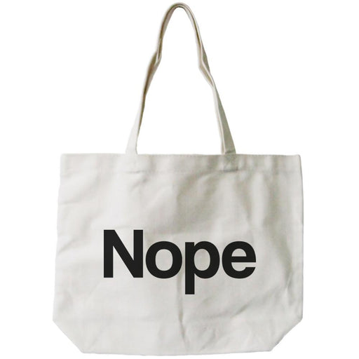 Nope Typography Canvas Bag Natural 100% Canvas Cute Tote For Girls - Alluforu