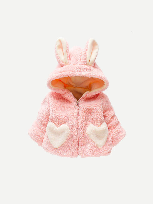 Toddler Girls Rabbit Ear Decoration Faux Fur Outerwear - Alluforu
