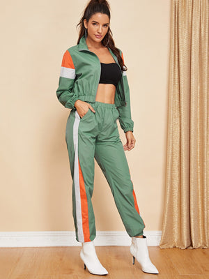 Zip Up Color Block Jacket & Pants Set